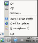 Taskbar icon & menu